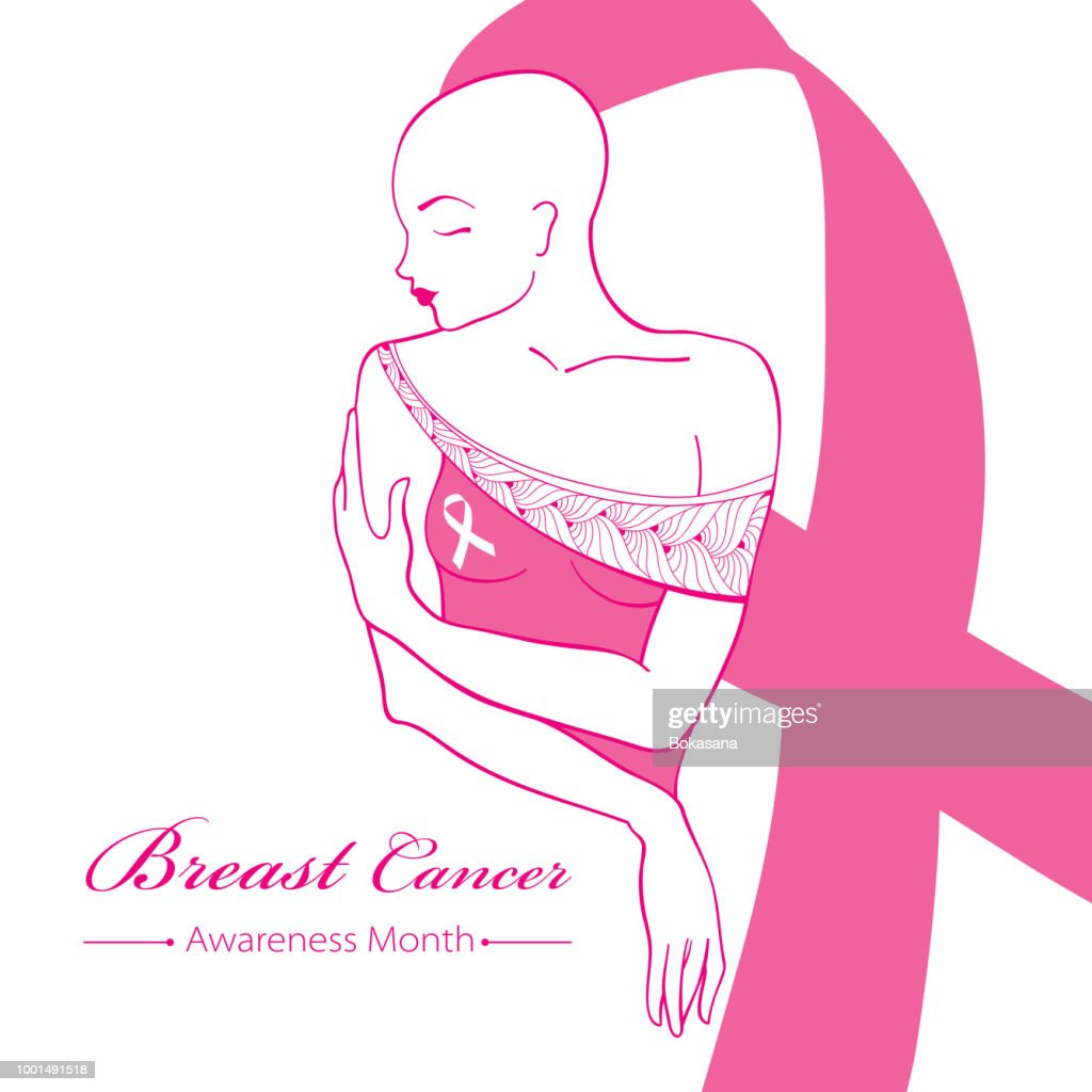 Vector drawing bald woman after chemotherapy with pink ribbon isolated on white background. Breast Cancer Awareness Month symbol.