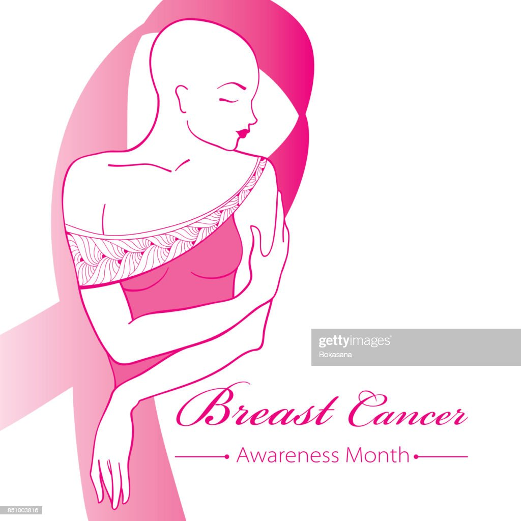 Vector drawing bald woman after chemotherapy with pink ribbon isolated on white background.