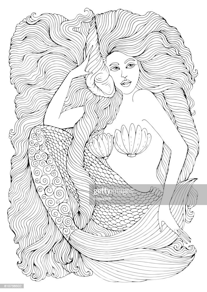 Vector drawing fantastic sea mermaid with long wavy hair holds a seashell