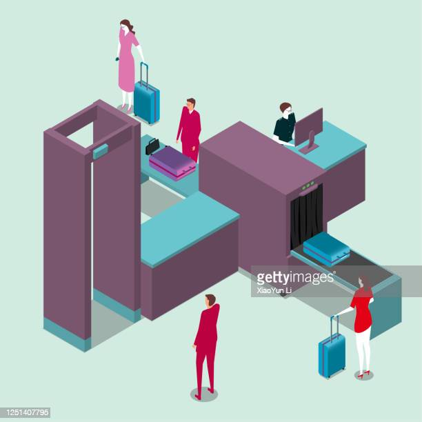 vector drawing isometric security checkpoint machine.tourists are undergoing security checks. - security scanner stock illustrations