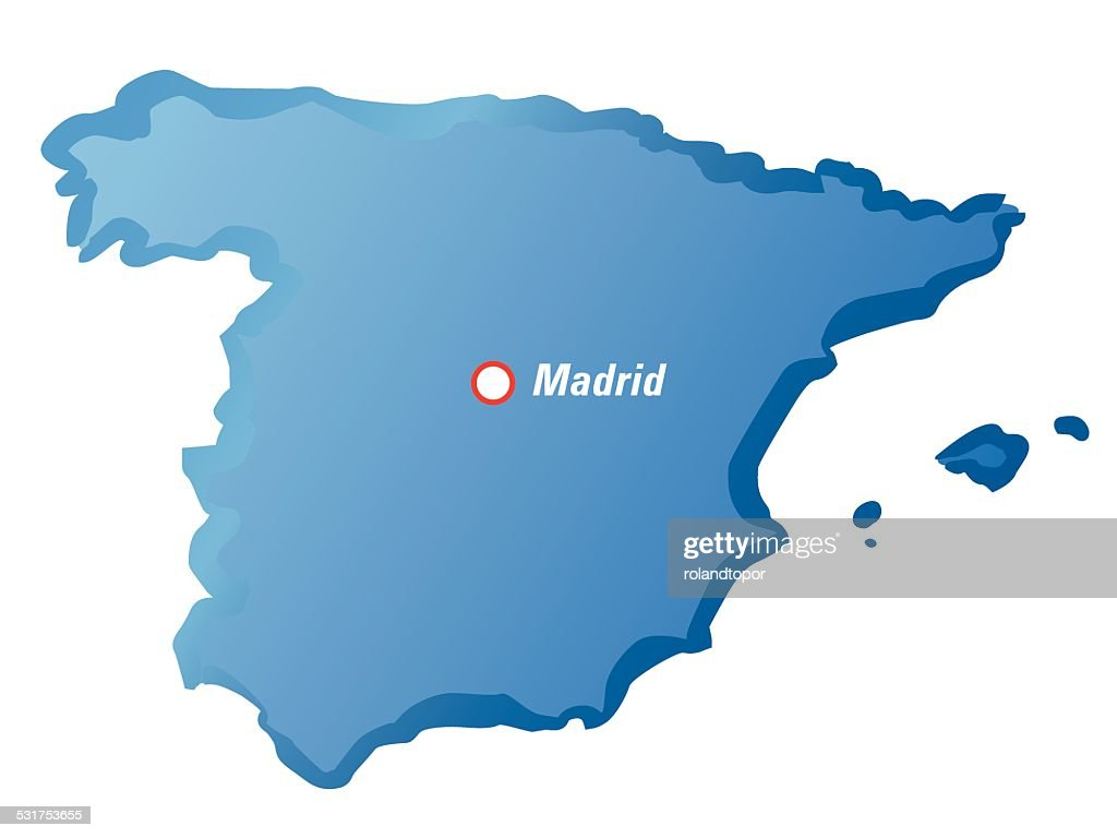 Map Of Spain Drawing.Vector Drawing Map Of Spain And Madrid Stock Vector Getty Images