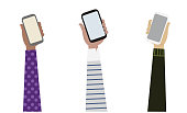 Vector drawing of 3 arms from different ethnicities holding 3 smart phones illustration, Communication concept.