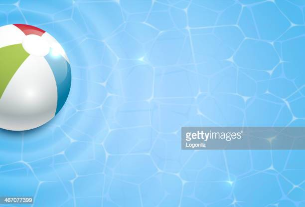 Vector drawing of a beach ball and pool background