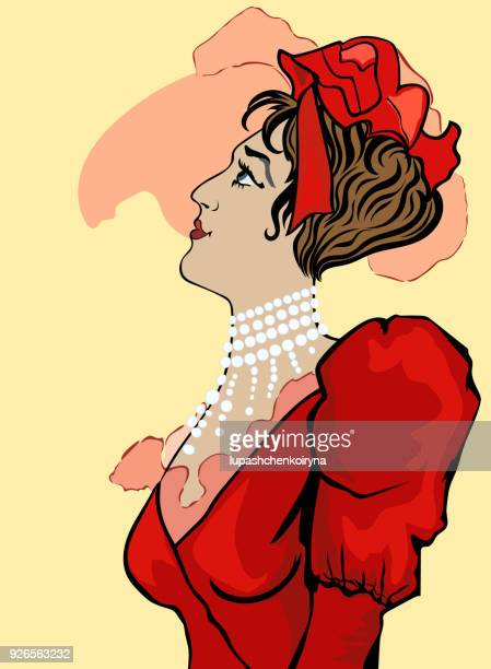Vector drawing of a historical portrait of a woman
