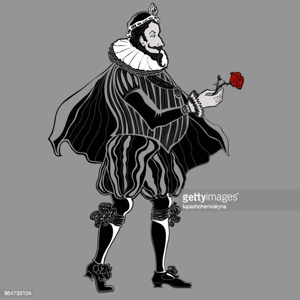 Vector drawing of an aristocrat in a historical suit