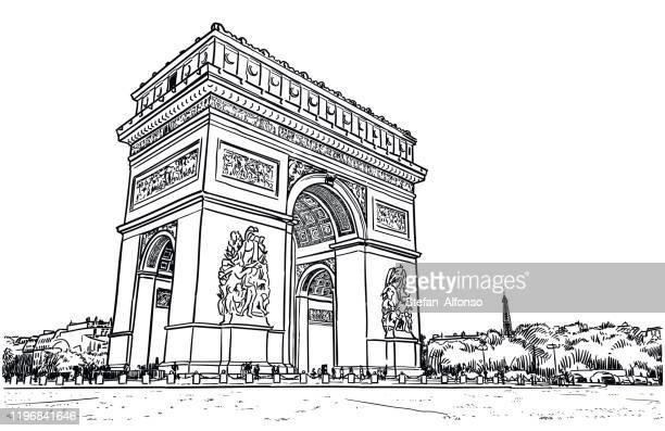 illustrations, cliparts, dessins animés et icônes de dessin vectoriel de l'arc de triomphe à paris - arc de triomphe