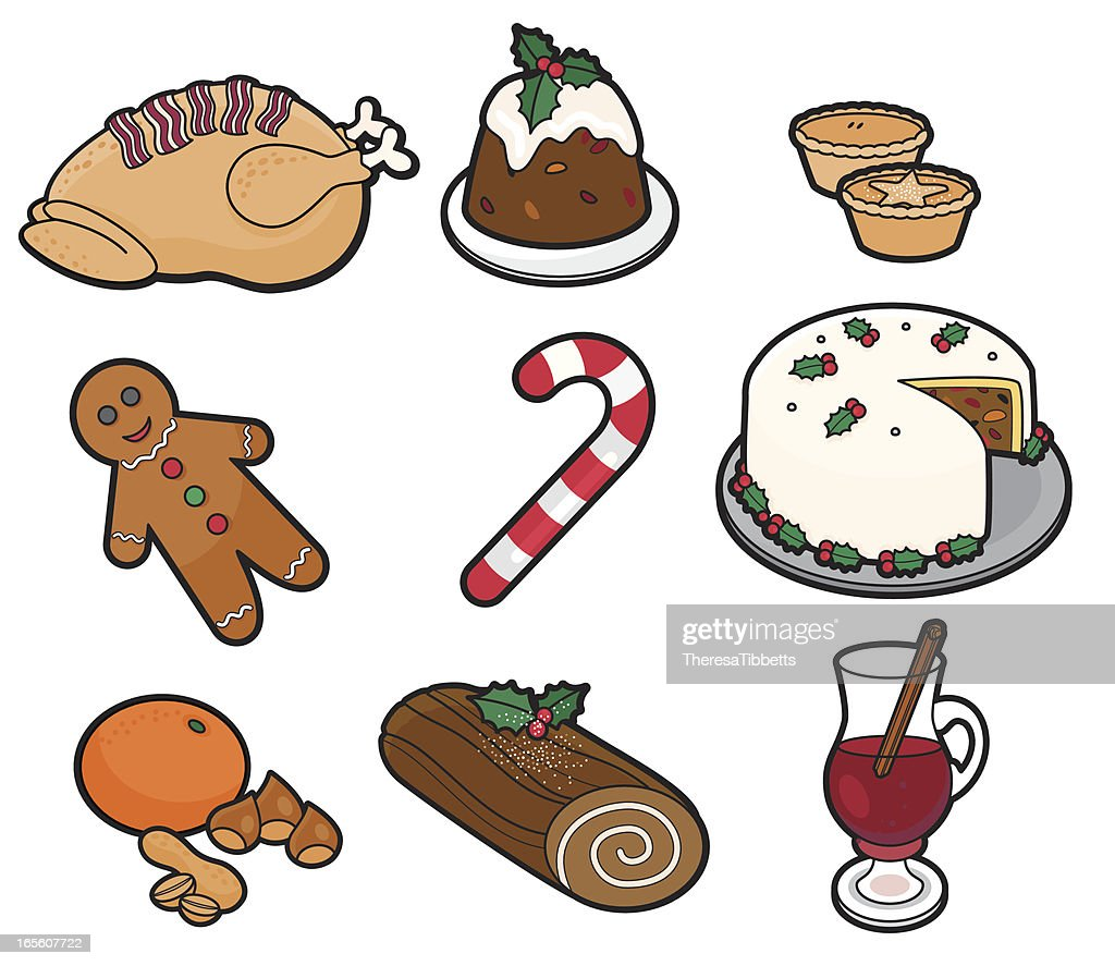 Vector drawing of Christmas foods and candy : stock illustration