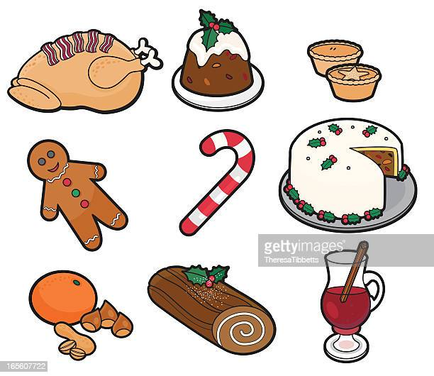 vector drawing of christmas foods and candy - mulled wine stock illustrations, clip art, cartoons, & icons