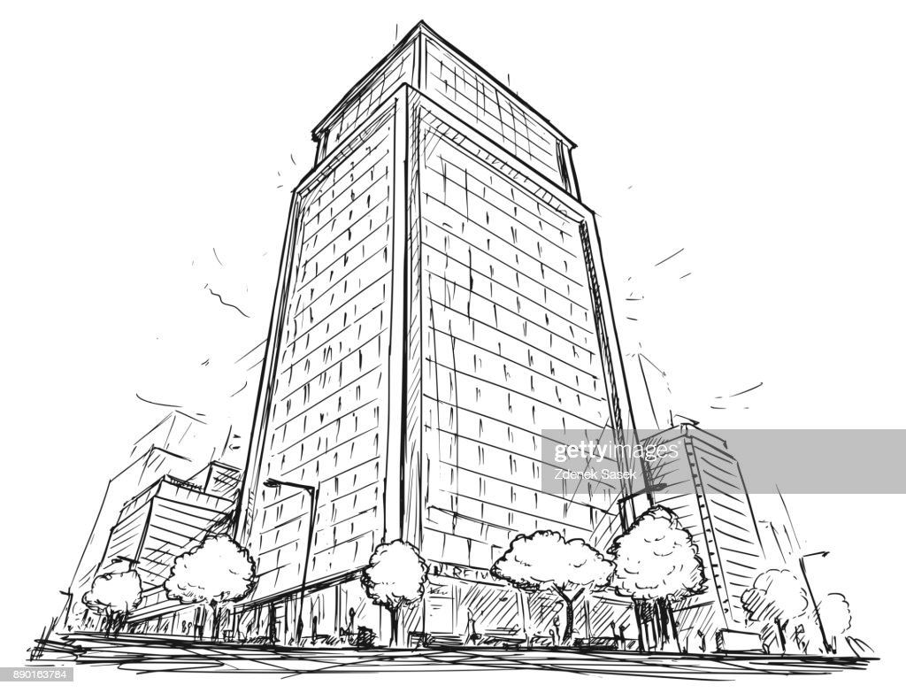 Vector Drawing of City Street High Rise Building