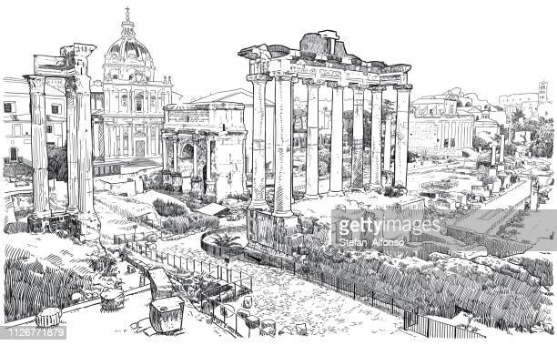vector drawing of forum romanum, ruins of ancient rome - roman forum stock illustrations