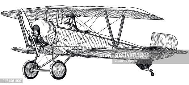 vector drawing of old biplane on white background - vintage airplane stock illustrations