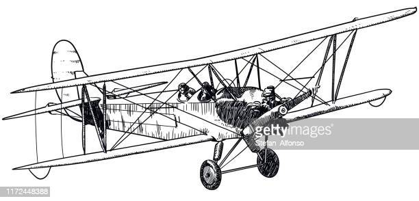 vector drawing of old biplane on white background - biplane stock illustrations, clip art, cartoons, & icons
