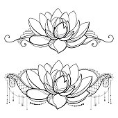 Free download of lotus flower tattoo outline vector graphics and vector drawing with outline lotus flower decorative lace and swirls in black isolated on white mightylinksfo
