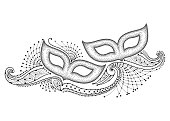 Vector drawing with two dotted carnival mask and outline decorative lace in black isolated on white background.
