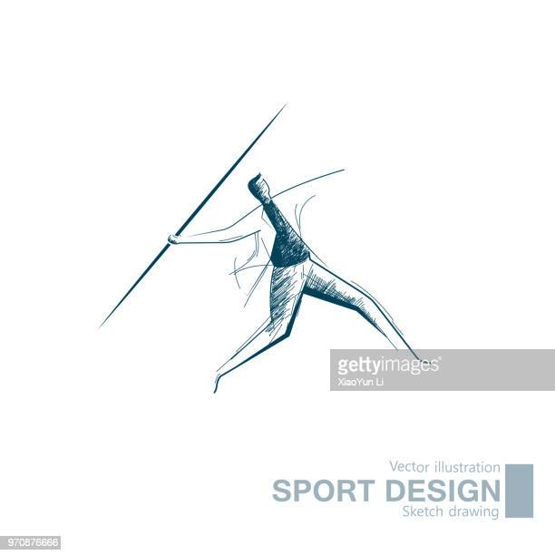 vector drawn businessman throwing a javelin - javelin stock illustrations