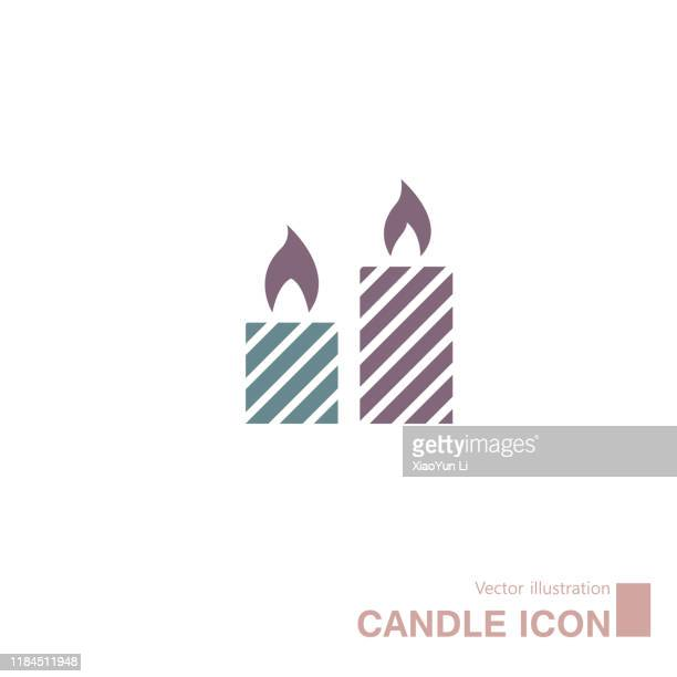 vector drawn candle icon. - christmas decore candle stock illustrations