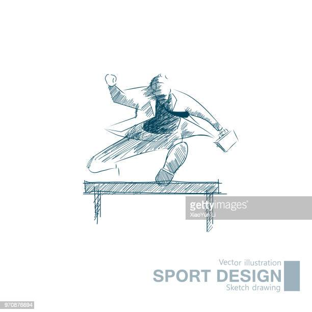vector drawn hurdle sport businessman - hurdle stock illustrations