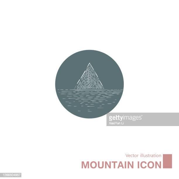 vector drawn mountain icon. - mountain logo stock illustrations