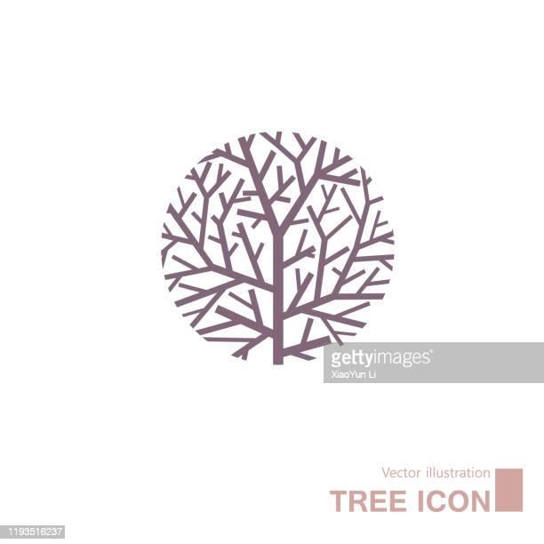 illustrazioni stock, clip art, cartoni animati e icone di tendenza di albero disegnato vettoriale. - albero