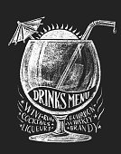 Vector drinks menu on blackboard