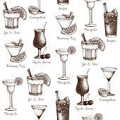Vector drinks seamless pattern