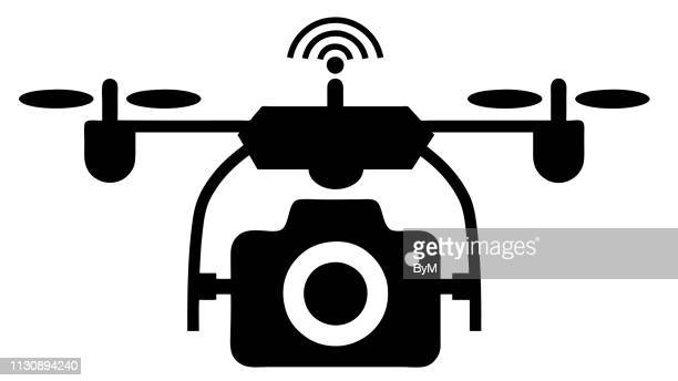 vector drone with camera and wifi icon. quadcopter drone vector - modern, simple flat vector illustration for website or mobile app. isolated on white. - body camera stock illustrations
