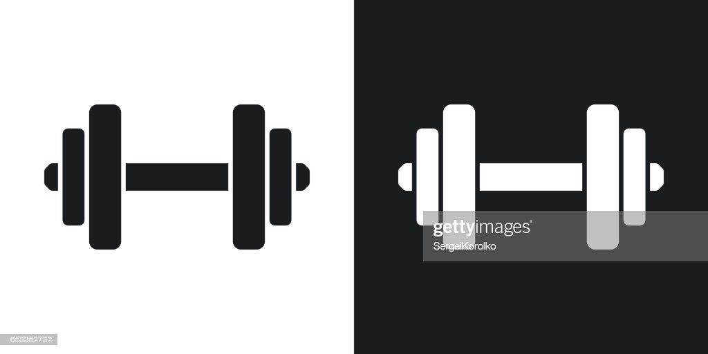 Vector dumbbell icon. Two-tone version