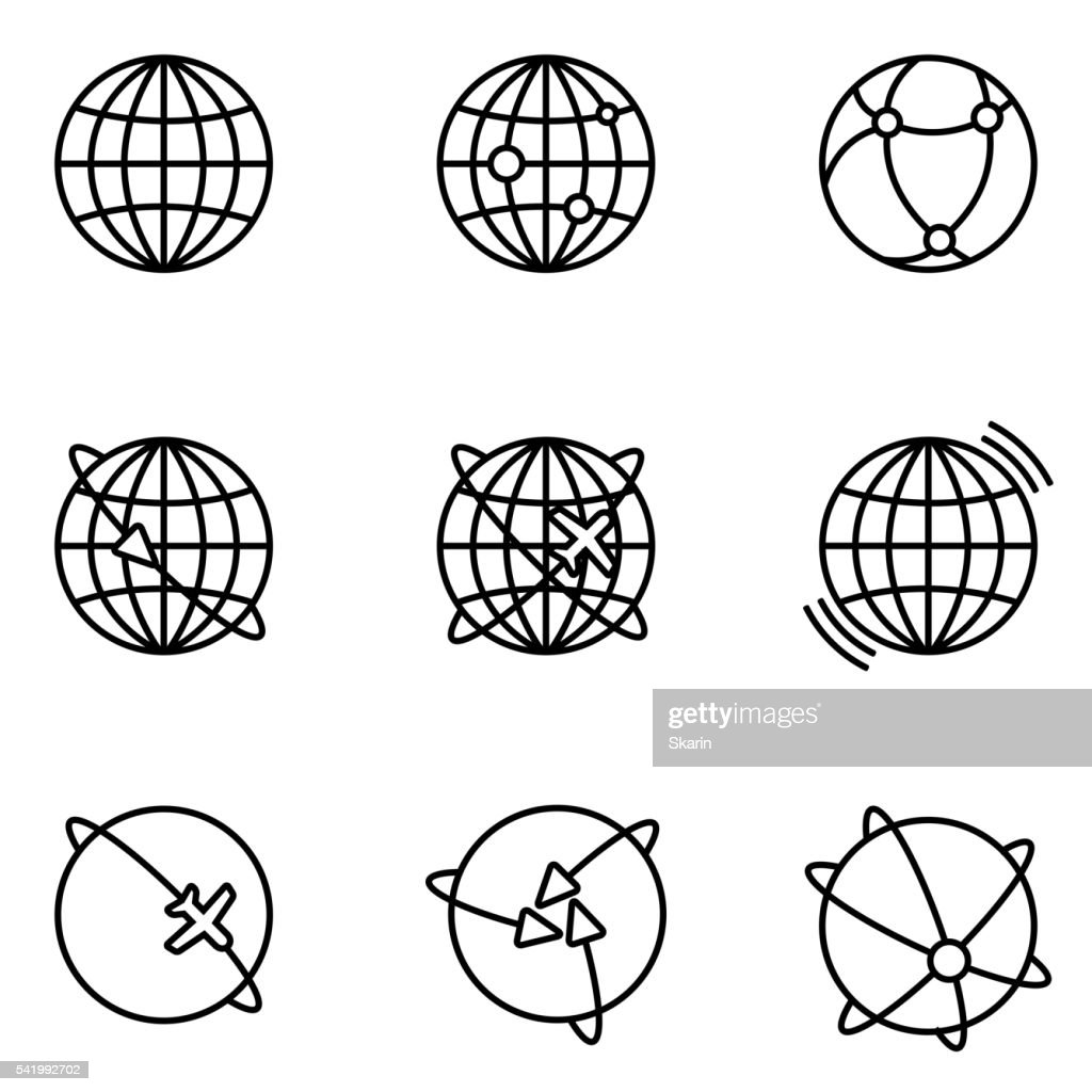 Vector Earth Global Communication icons set.