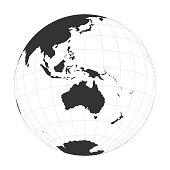 Vector Earth globe focused on Australia and Oceania