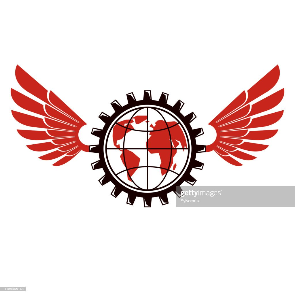 Vector Earth planet illustration surrounded by engineering cog wheel can be used as proletarian revolution abstract sign or socialism concept. Working class idea.