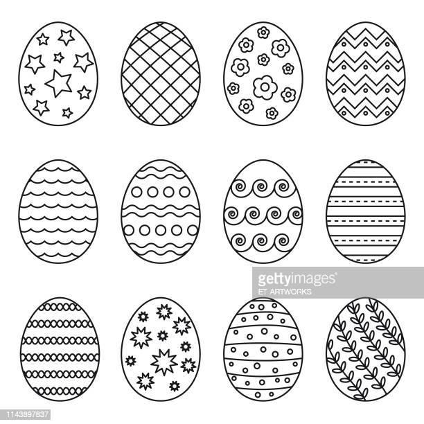illustrazioni stock, clip art, cartoni animati e icone di tendenza di vector easter eggs icons - easter egg