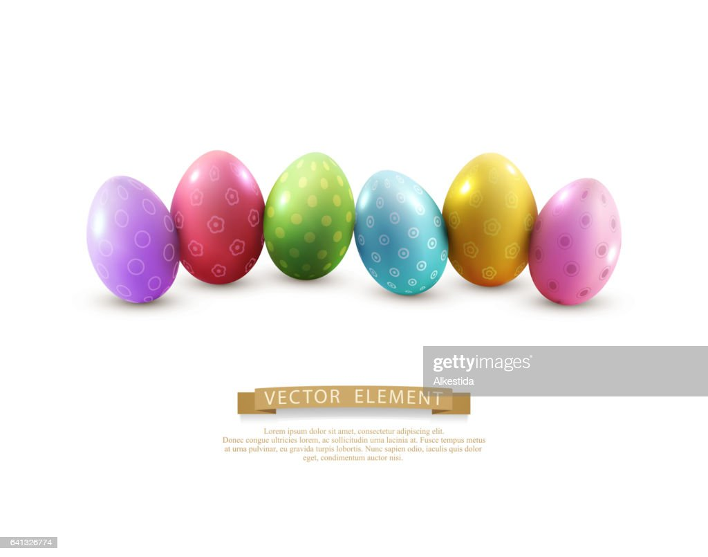 Vector easter eggs, isolated on white background.