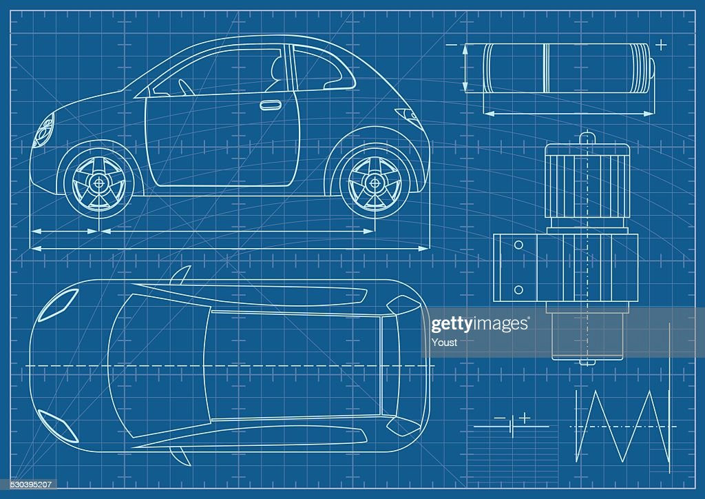 Vector Eco Car Blueprint Vector Art | Getty Images