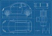 Vector Eco Car Blueprint