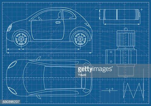Vector eco car blueprint vector art getty images malvernweather Choice Image