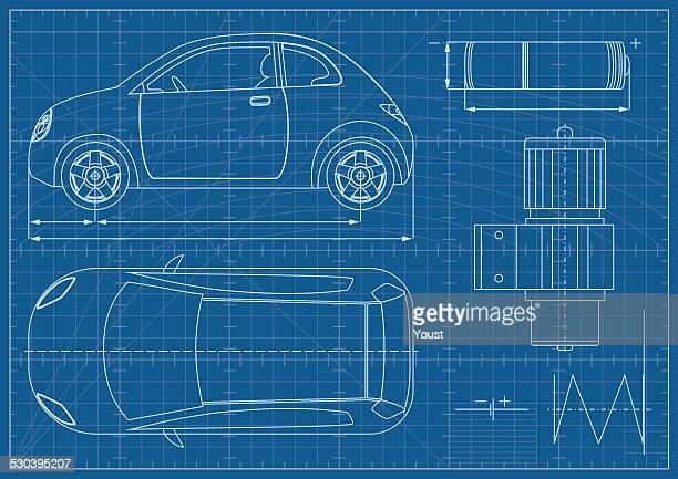 Car blueprint vector art and graphics getty images vector eco car blueprint malvernweather Gallery