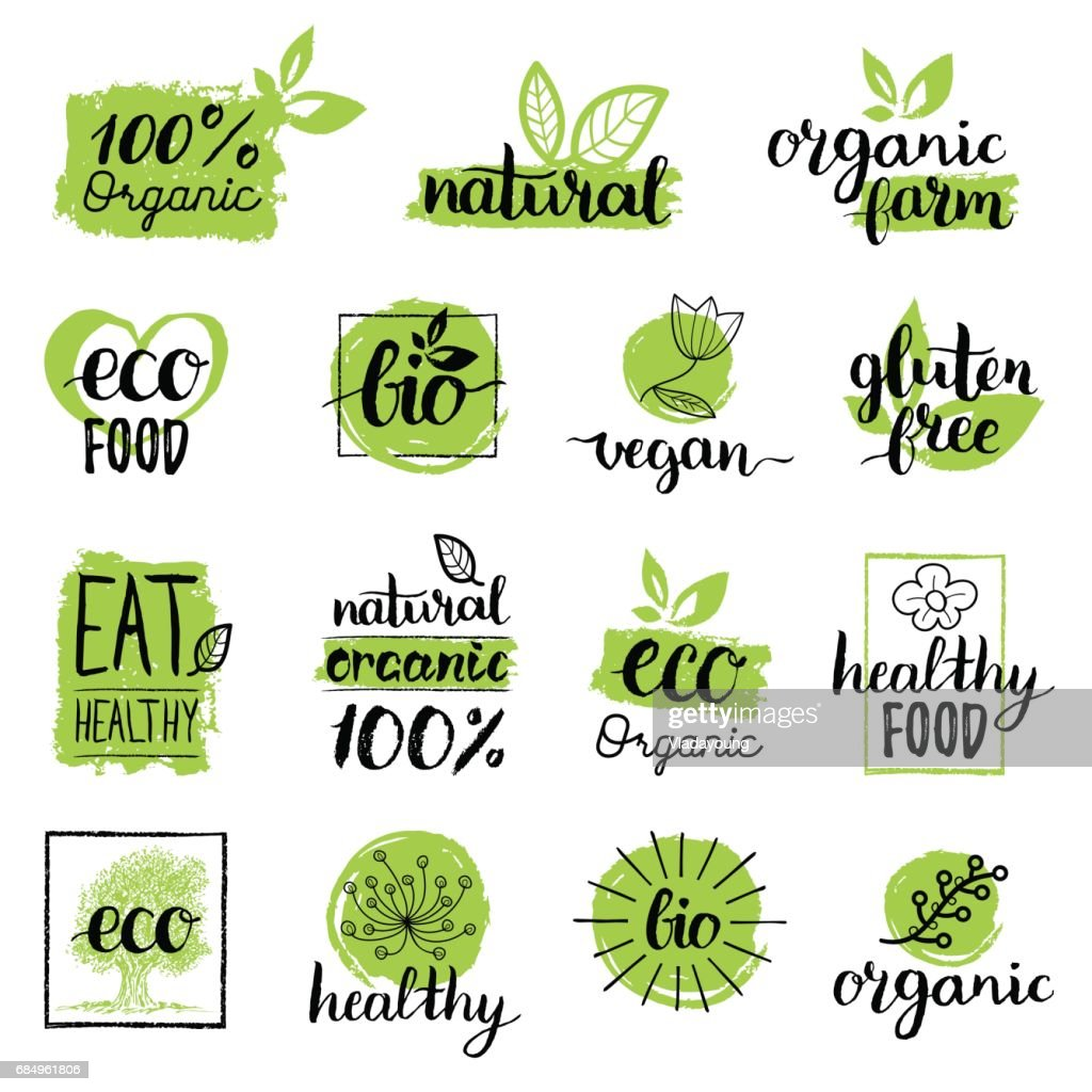Vector eco, organic, bio signs. Vegan, raw, healthy food badges, tags set for cafe, restaurants, products packaging etc.
