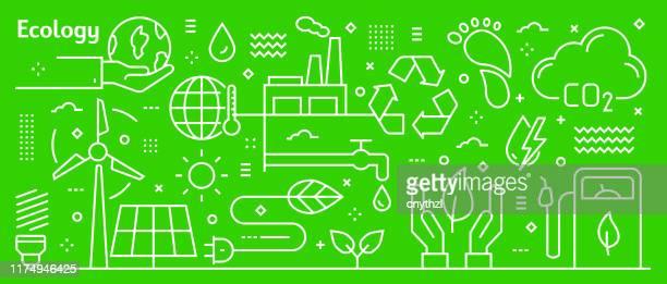vektorökologie banner design im trendigen linearen stil. linie kunst stil abstrakte muster für webseite, banner, präsentation - umweltthemen stock-grafiken, -clipart, -cartoons und -symbole