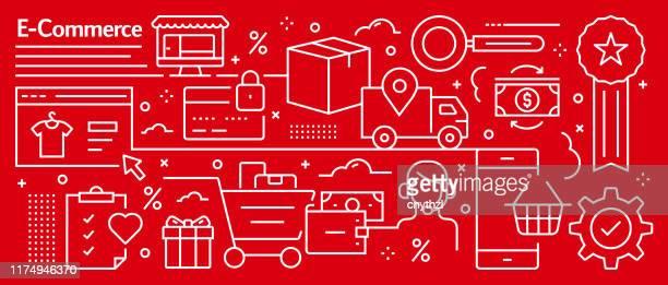 vector e-commerce banner design im trendigen linearen stil. linie kunst stil abstrakte muster für webseite, banner, präsentation - elektronischer handel stock-grafiken, -clipart, -cartoons und -symbole