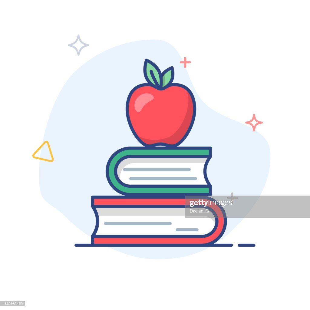 Vector education/ apple on books  flat linear icon