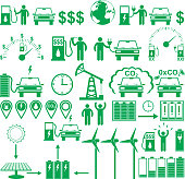 Vector electric cars and Ecology stick pictograms set