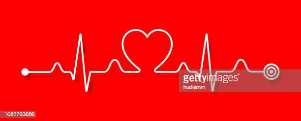 vector electrocardiogram and heart pattern (health concept) - panoramic stock illustrations