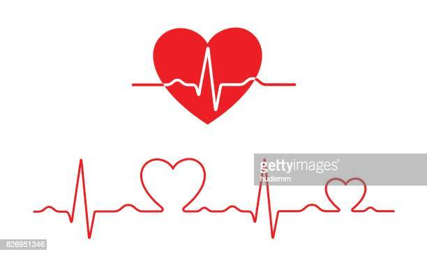 vector electrocardiogram and heart pattern (health concept) - heart shape stock illustrations