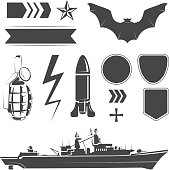 Vector elements for army, airforce and navy patches labels