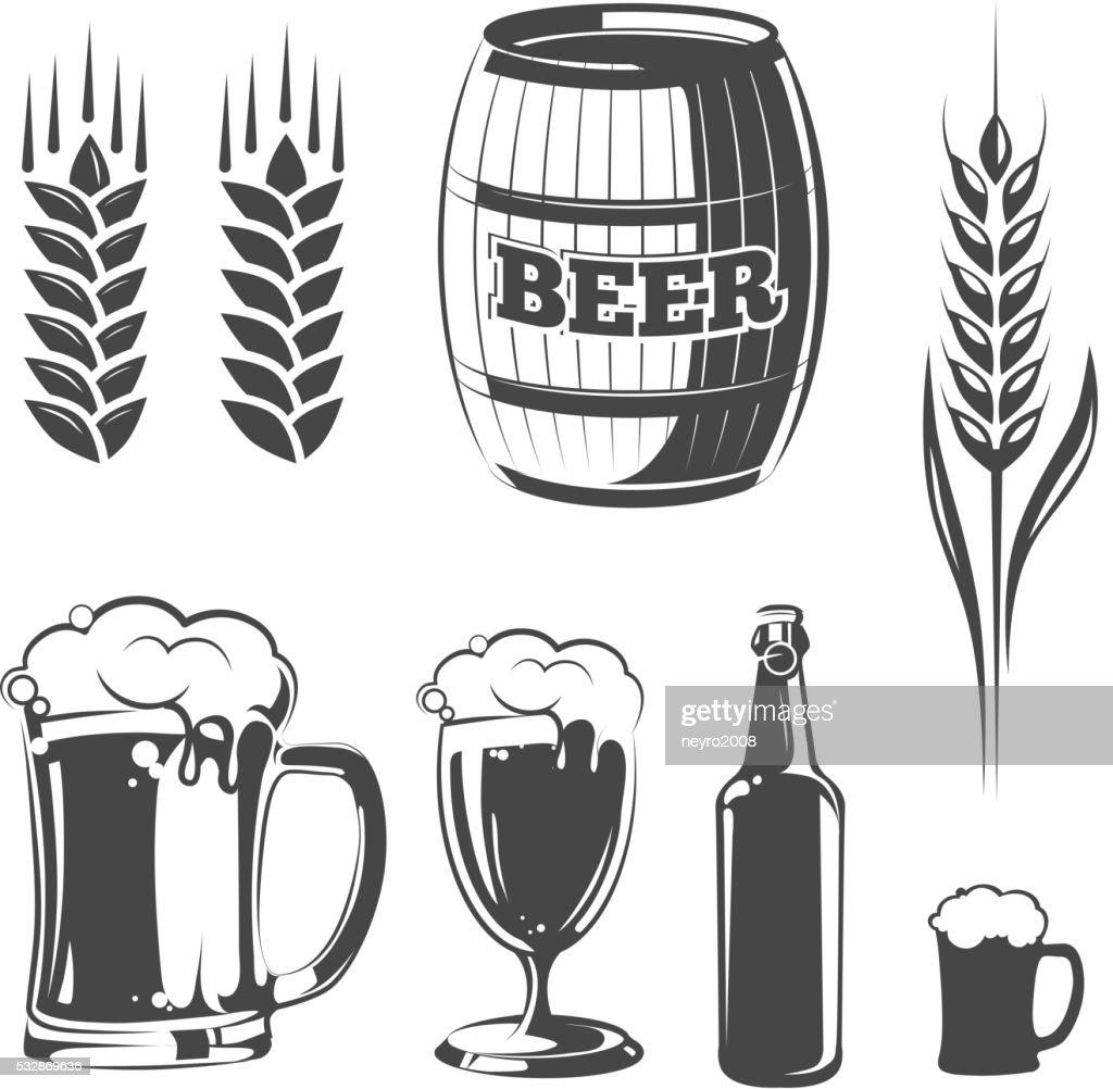 Vector elements for vintage beer festival labels and emblems