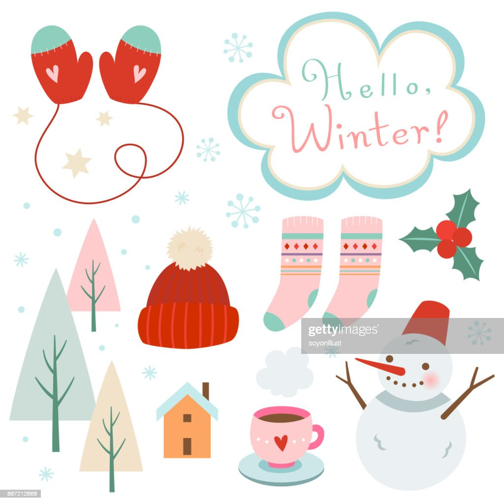 Vector elements for winter design.