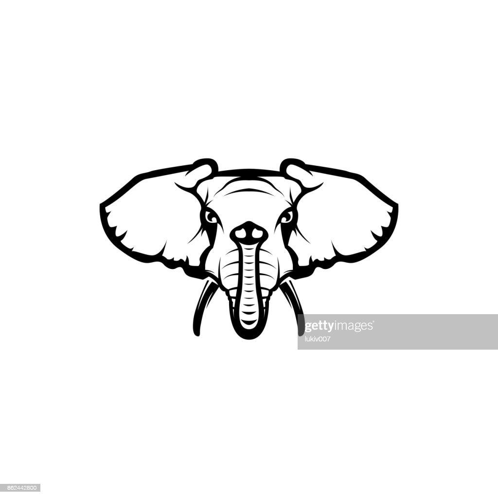 Vektor Elefantenkopf Gesicht Für Retrohipstersymbole Embleme ...