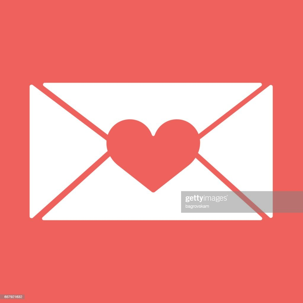 Vector Email Envelop Icons With Heart Wax Pressfor Valentine Day