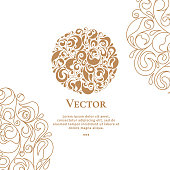 Vector emblem. Can be used for jewelry, beauty and fashion industry. Elegant, classic elements.