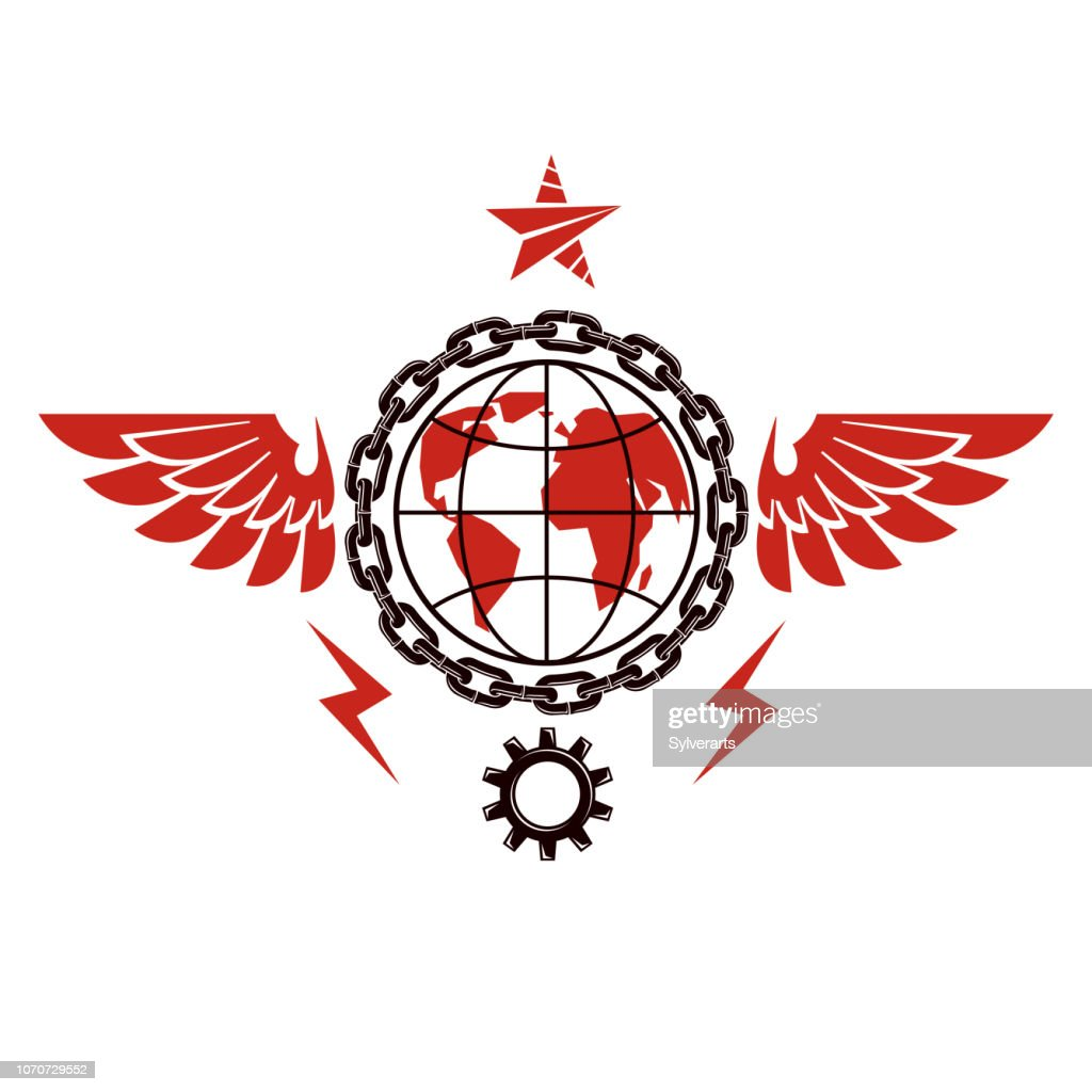 Vector emblem composed using Earth globe surrounded with industrial gear and decorated using pentagonal star. Proletarian social revolution abstract symbol, totalitarian utopia.